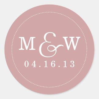 Charming Wedding Monogram Sticker - Mauve