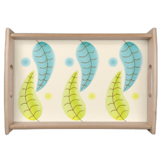 Chartreuse and Aqua leaves serving tray