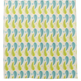 Chartreuse and Aqua leaves shower curtain
