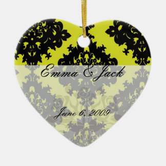 chartreuse and black elegant diamond damask design christmas ornament