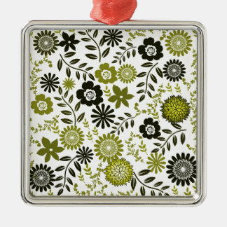 Chartreuse and Dark olive green floral pattern Christmas Ornament