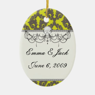 Chartreuse and Grey damask pattern Christmas Ornament