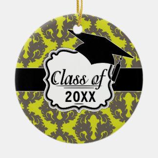 Chartreuse and Grey damask pattern graduation Christmas Ornament