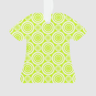 Chartreuse and White Geometric Pattern Ornament