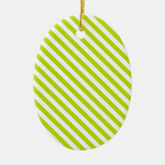 Chartreuse and White Stripes Christmas Ornament