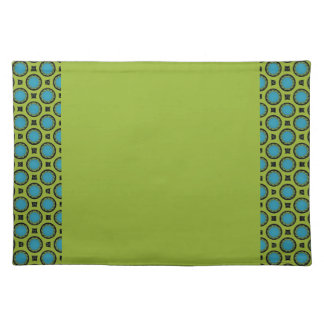 Chartreuse blue circle pattern border placemat