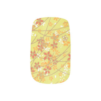 Chartreuse floral pattern minx nail art