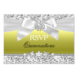 Chartreuse Glitter Bow Quinceanera RSVP 9 Cm X 13 Cm Invitation Card