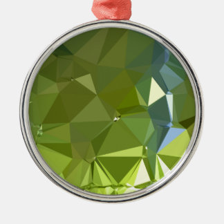 Chartreuse Green Abstract Low Polygon Background Christmas Ornament