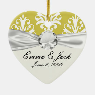 Chartreuse green and white chic damask christmas ornament