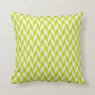 Chartreuse Green Herringbone Abstract Pillow