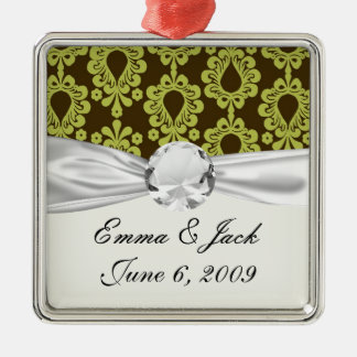chartreuse green on brown damask design christmas ornament