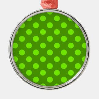 Chartreuse Green Polka Dot Pattern Girly Trendy Christmas Ornament