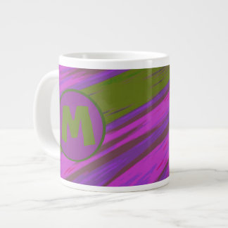 chartreuse green purple pink Color Swish Abstract Large Coffee Mug