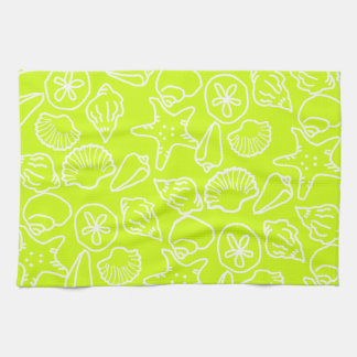 Chartreuse Green Seashell Kitchen Towel
