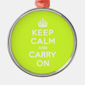 Chartreuse Keep Calm and Carry On Christmas Ornament