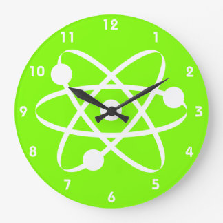 Chartreuse, Neon Green Atom Large Clock