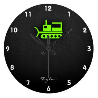 Chartreuse, Neon Green Bulldozer Large Clock