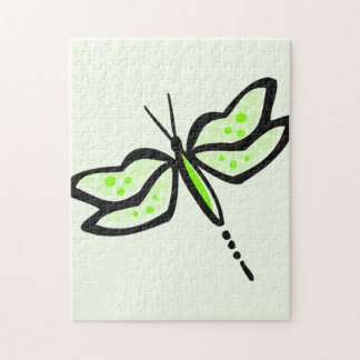 Chartreuse, Neon Green Dragonfly Jigsaw Puzzle