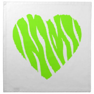 Chartreuse, Neon Green Heart Napkin