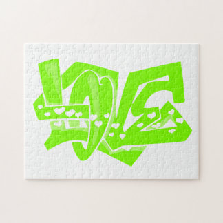 Chartreuse, Neon Green Love Graffiti Jigsaw Puzzle