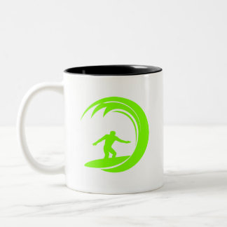 Chartreuse, Neon Green Surfing Two-Tone Coffee Mug
