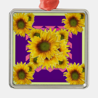 Chartreuse-Purple Floral Sunflower GIFTS Christmas Ornament