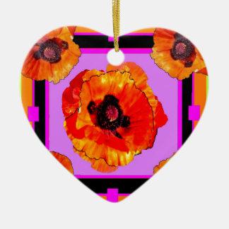Chartreuse, Purple, Orange Poppies Art Christmas Ornament