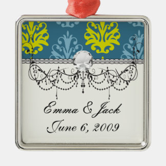 Chartreuse slate blue teal damask christmas ornament