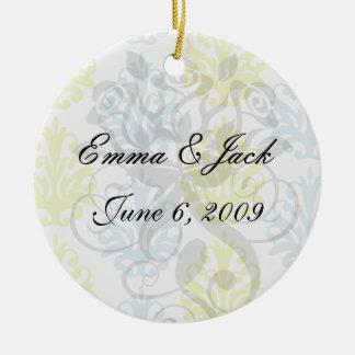 Chartreuse slate blue white damask christmas ornament