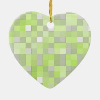 Chartreuse Yellow Mosaic Pattern Christmas Ornament