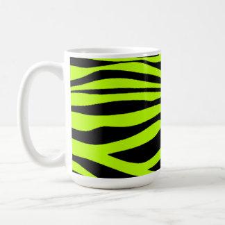 Chartreuse Zebra Stripes Animal Print Coffee Mug
