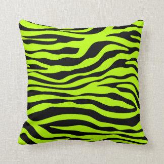 Chartreuse Zebra Stripes Animal Print Cushion