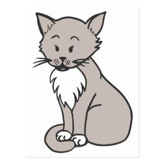 Chat gris postcard