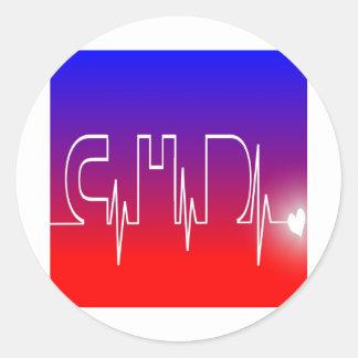 CHD EKG CLASSIC ROUND STICKER