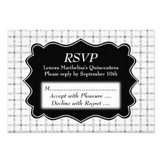 Check Pattern Black and White Quinceanera Custom Announcement