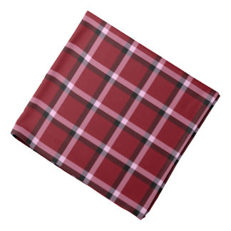 Checked Pattern Overlapping Lines Maroon Bandana