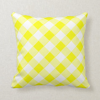 Checked Yellow Zazzle-eering Gingham Cushion