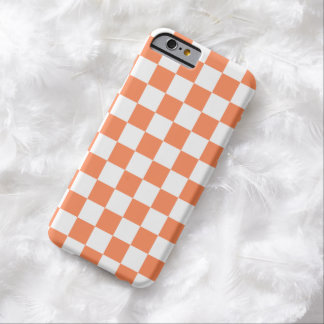 Checkerboard iPhone 6 case in Nectarine Orange Barely There iPhone 6 Case