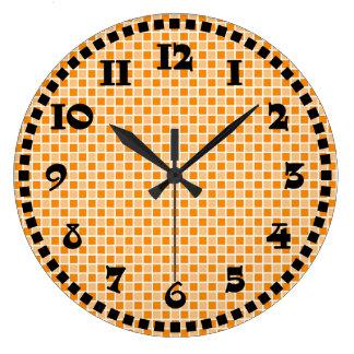 Checkerboard Squares Modern Fun White Black Orange Clocks