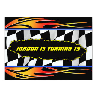 """Checkered flag and flames 5"""" x 7"""" invitation card"""