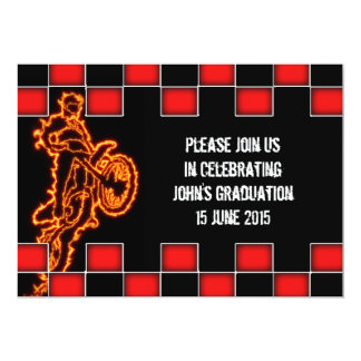 """Checkered flag and rider made of flames Motocross 5"""" X 7"""" Invitation Card"""