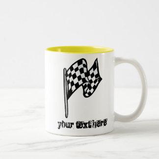 Checkered Flag; yellow Two-Tone Coffee Mug