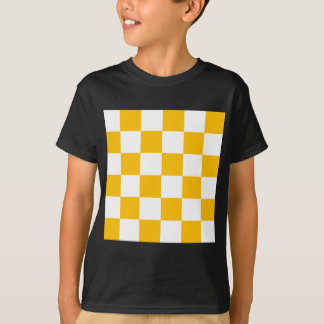 Checkered Large - White and Amber T-Shirt