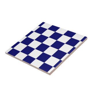 Checkered Navy and White Small Square Tile