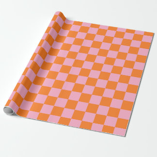 Checkered Orange and Pink Wrapping Paper
