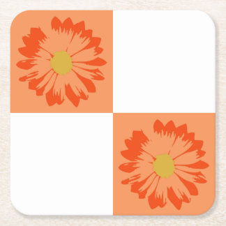 Checkered Orange & White Flower Coaster Square Paper Coaster