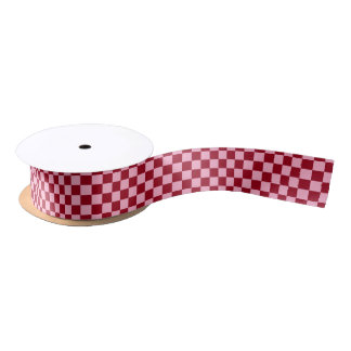 Checkered Pink and Burgundy Satin Ribbon