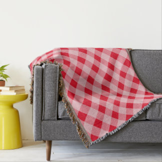 Checkered red gingham picnic plaid throw blanket