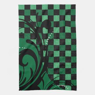 Checkered Swirly Pattern | Green and Black Tea Towel